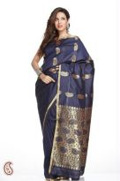 Small Border Navy Blue Art Silk Saree with Zari Ke