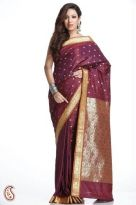 Maroon Art Silk Saree with all-over Floral Butties