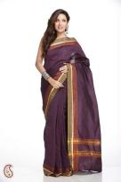 Eggplant Purple Cotton Silk Saree with Thread Bord