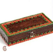 Rectangle Mini Wood Chest With Embossed Clay Work