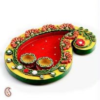 Keri Design Wood And Clay Work Pooja Thali