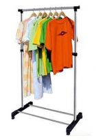 Portable Single Pole Telescopic Clothes Rack Clothes Dryer Shoe Rack Wheels