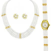 Jpearls 3 String Pearl Necklace With A Watch - Her