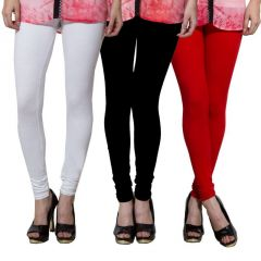 Both11 Set Of 3 Cotton Lycra Multicolored Leggings (free Size) - (product Code - B11-tp-1-2-5)
