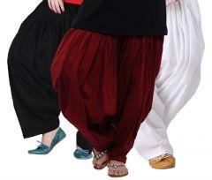 """Rakshita""""s Collection Set Of 3 Cotton Patiyala Salwar-(black And White And Maroon)"""