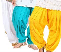 """Rakshita""""s Collection Set Of 3 Cotton Patiyala Salwar-(white And Yello And Skyblue)"""