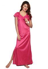 Moksh Pink Satin Lycra Night Dress 7006