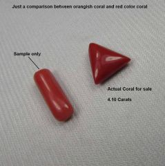 CERTIFIED TOP GRADE 4.10CT NATURAL UNTREATED DARK RED CORAL/MOONGA