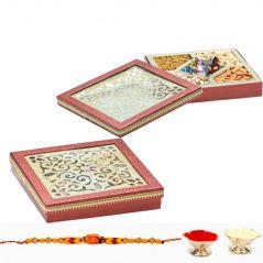 Punjabi Ghasitaram 2017 Rakhi Special Assorted Dryfruits and Chocolate sweet Box With Rakhi
