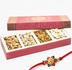 Punjabi Ghasitaram 2017 Rakhi Special Assorted Dryfruits Pink Fancy Box With Rakhi