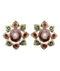 Vendee Fashion Floral Maroon & Green Earrings (8212)