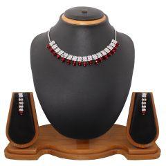 Vendee Fashion red glittering choker necklace set (8354)