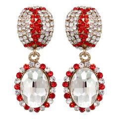 Vendee Fashion Festive Earrings Adorned With Red Diamonds (8394)