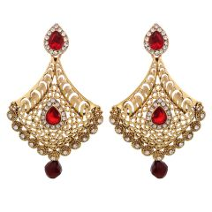 Vendee Fashion Adorn Metal Earrings With Red Drop (8395)