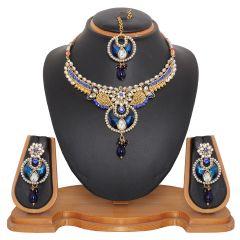Vendee Fashion Women's Clothing - Vendee Fashion Kundan Studded Jewelry Set in Royal Blue (8475)