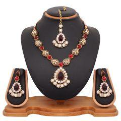 Vendee Fashion Maroon Kundani Necklace Set (8482)