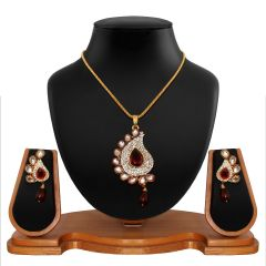 Vendee Fashion Antique delicate Red Pendant Set 8549