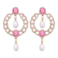 Fashion Round &  Pearls drop earrings 8571C