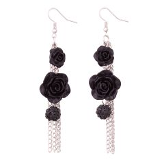 Vendee Fashion Black Rose Earrings Vintage Antique creative Earring 8597A