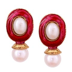 Vendee Fashion Dark Pink Kundan studded earrings