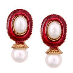 Vendee Fashion Red Kundan studded earrings