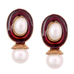 Vendee Fashion Maroon Kundan studded earrings