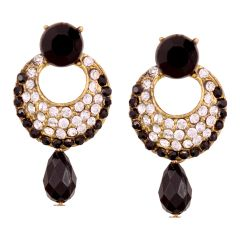 Vendee Fashion Black Stone Studded Chandbali Earrings