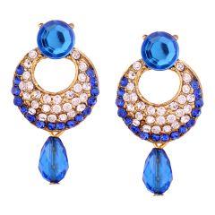 Vendee Fashion Royal Blue Stone Studded Chandbali Earrings