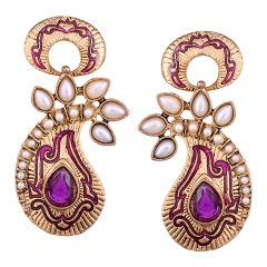 Vendee Fashion Purple Core Shape Earrings