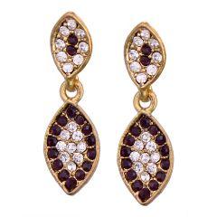 Vendee Fashion Leafy Design Purple Earrings