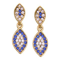 Vendee Fashion Leafy Design Royal Blue Earrings