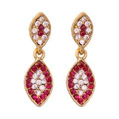 Vendee Fashion Leafy Design Pink Earrings