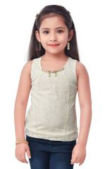 Semi Party Wear Western Top with Separate Sleeves for Kids - Yellow by Triki (Code - 693 BUTTER)