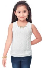Semi Party Wear Western Top with Separate Sleeves for Kids - Cream by Triki (Code - 693 CREAM)