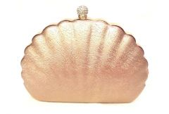 Rose Gold Toned Shell Shaped Party Clutch with Sling Strap by Boga - (Code - Clutch-PPC6)