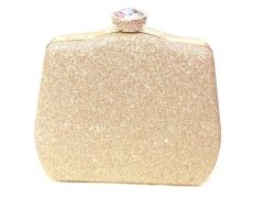 Gold Toned Fancy Party Clutch with Sling Strap by Boga - (Code - Clutch-PPC8)