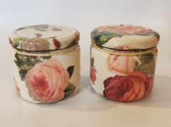 Pair of Glass Jars - English Rose by The Gift Attic (code - TGA-GJ-ER)