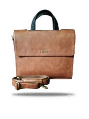 Double Flap Brown Laptop Bag By Strutt ( Code - SML179)