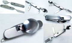 4in1 Survival Camping Trekking Army Food Spoon Fork Knife Set Can Bottle Op