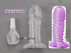 Hot New Full Cover Penis Sleeve Ring Delay Impotence Erection Reusable Condom With Lubricant Bottle