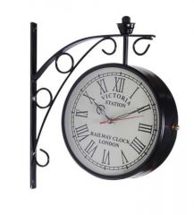 Victoria Two Sided Railway Wall Clock-black 8 Inch
