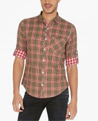 Nick&Jess Mens Olive Green Block Checkered Reversible Cotton Slim Fit Shirt