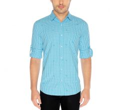 Nick&Jess Mens Aqua Anchor Emroidered Slim Fit Checkered Shirt