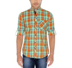 Nick&Jess Mens Orange & Green Checkered Mandarin Collared Slim Fit Cotton Shirt
