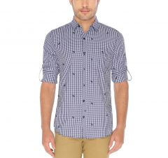 Nick&Jess Mens Navy Anchor Emroidered Slim Fit Checkered Shirt