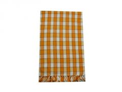 Tidy Orange With White Colour Checked Cotton Bath Towel-pack Of 1