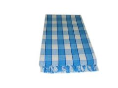 Tidy Collection Blue With White Checked Cotton Bath Towel - Pack Of 1
