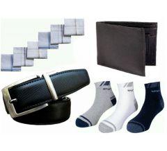Men's Combo Pack:- 3 Pairs Ankle Socks 6 PCs Handkerchiefs 1 Reversible Belt And 1 Wallet