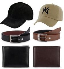 Combo Of 2 belts, 2 wallets 2 sports caps For Men