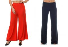 SET OF 2 SOLID COLOURED WOMEN PALAZZO PANTS WEAR FOR LADIES